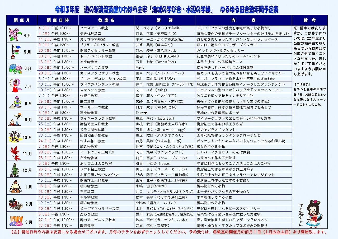 ゆるゆる田舎塾年間予定表(第13期・令和3年度)